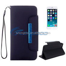 Deluxe Magnetic Flip Matte Surface Leather Wallet phone Case With Hand Strap for iPhone