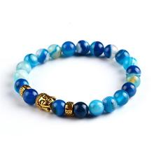 burma jewelry made in thailand blue lava stone natural stone agate golden buddha beaded bracelets