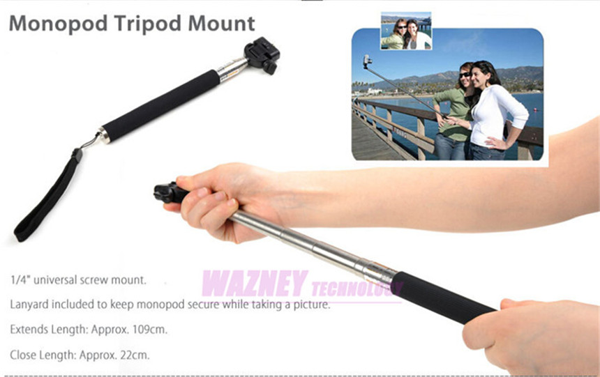 Extendable Self Portrait Selfie Stick Handheld Monopod+ Wireless Bluetooth Remote Shutter Control For apple samsung IOS Android
