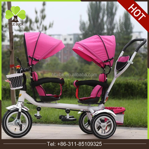 Ali express china online shopping wholesale cartoon children tricycle for twins, 2 seats children tricycle, baby double trike