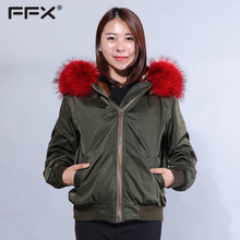 EACHOO Korea Design Parka With Big Raccoon Fur Collar Colorful Mink Fur Lining Jacket