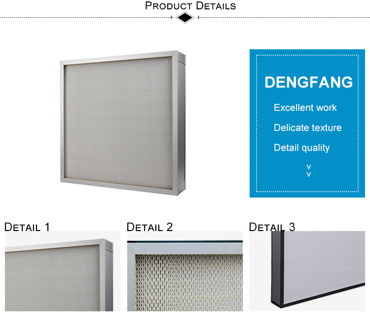 Disposable Type 99.99% Mini-Pleated Cleanroom HEPA Filter