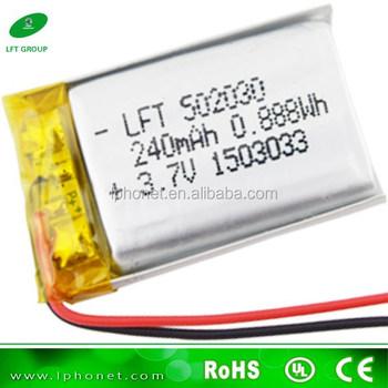 Lithium Polymer Battery 502030 3.7v Lipo Battery 240mah Lithium ...