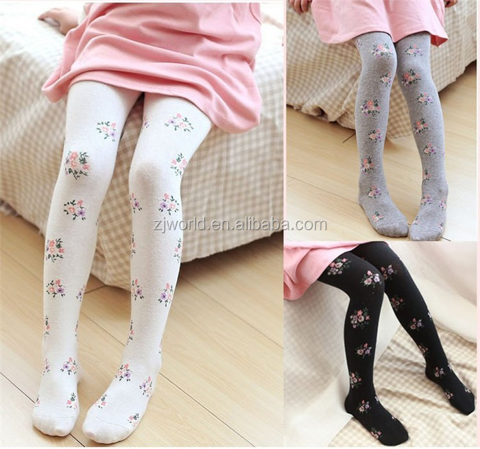 Professional manufacture cheap cute flower kids pantyhose