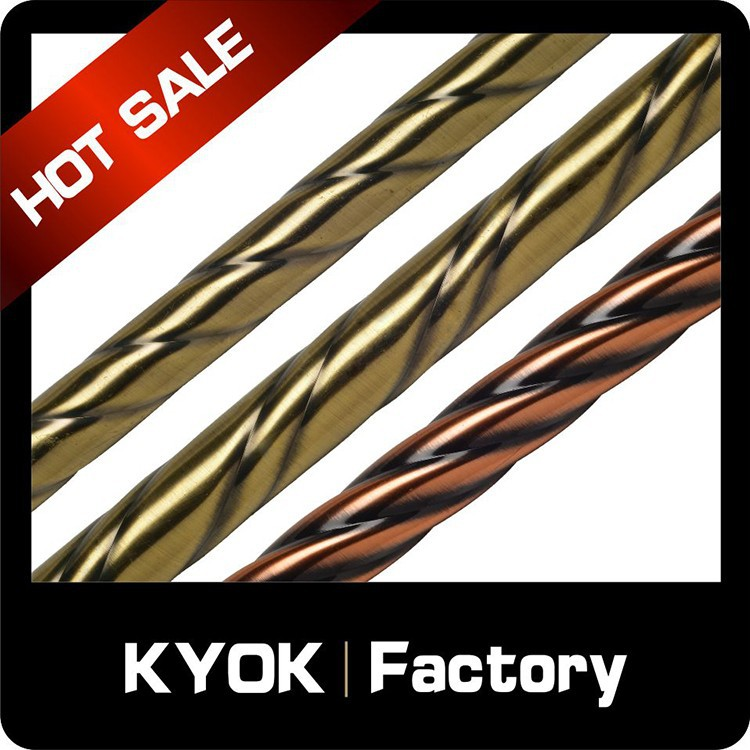KYOK wholesale metal curtain rod accessories, rustproof antique brass iron curtain pole, decarative bathroom window decor tubes