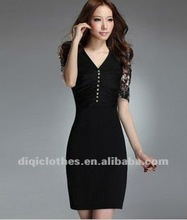 2012 fashion O/L dress with lace shoulder