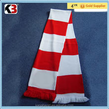 2016 Made in China hot sale fans football scarf red white stripe scarf common design football scarf