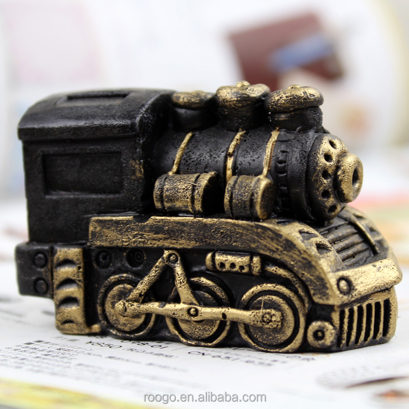 ROOGO new polyresin vintage outdoor christmas black train decoration