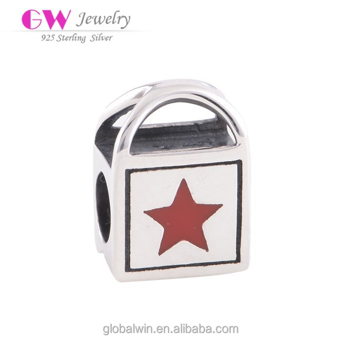 Women Jewelry In Silver Shopping Handbag Red Five Pointed Star Charms Wholesale African Beads D012