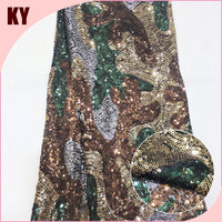 3mm 100%polyester three color camouflage style sequin fabric