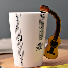 New Product 3D Unique Guitar Ceramic Music Mug with Funny Handle