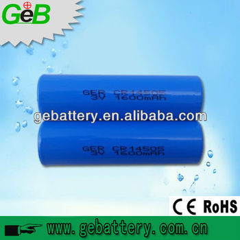 GEB 3v aa battery li mn 3v battery cell Lithium-Manganese battery CR14505 1600mAh