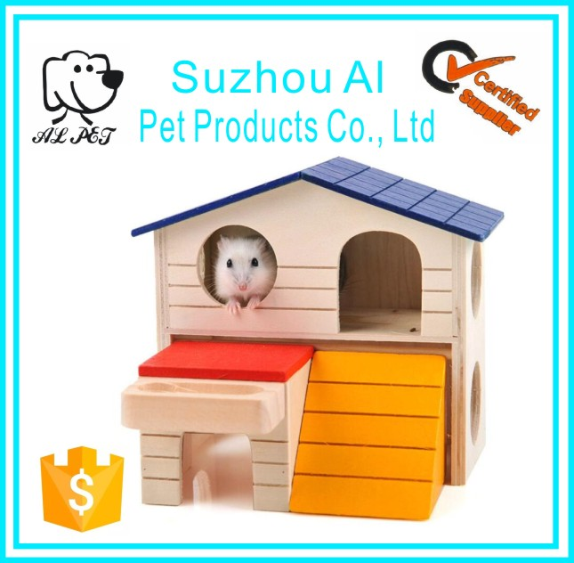 Pet Wooden Bed House Cage Dual Layer Villa Rat Mouse Dwarf Hamster Cage