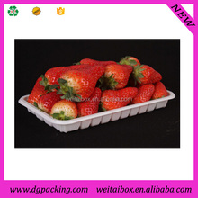 white disposable fruit strawberry flat plastic packing trays without lid