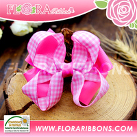 Big Pink Decorative Metal Bow Hair