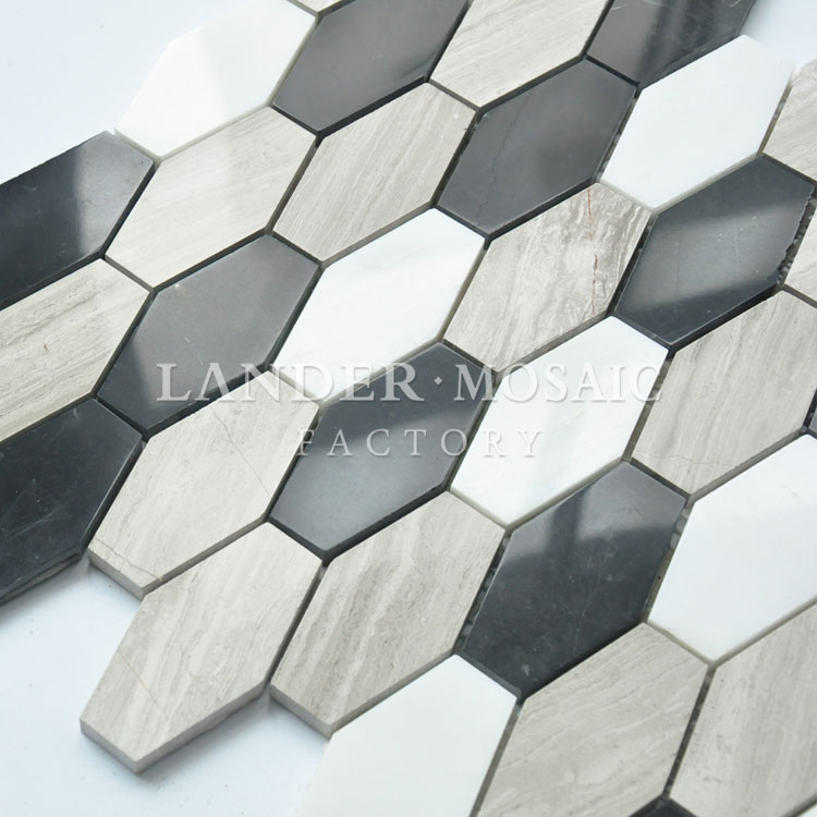 irregular marble mosaic tile white and grey black color