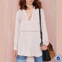 Women Long Sleeve V-neck Fashion Plain Silky Shirt