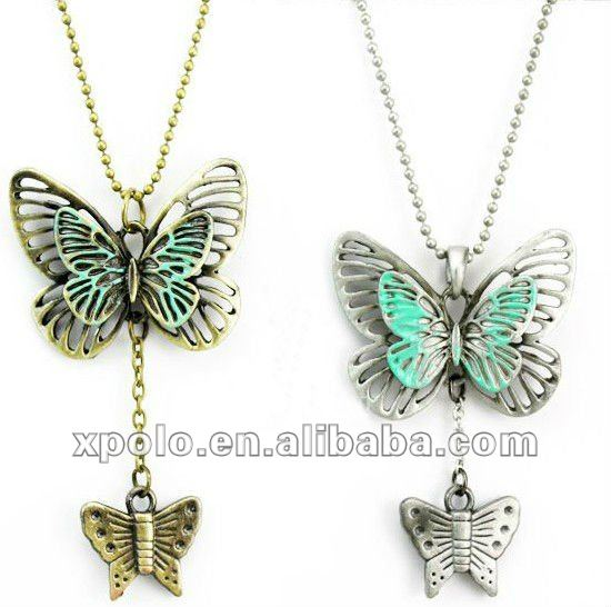 Simple Hollow Butterfly Pendant Sweater Chain Necklace Jewelries