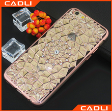 High Grade Plating Diamond Flower Crystal Soft TPU Case For iPhone 5s 6 6 Plus