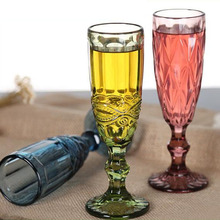 Factory price glass champagne flute,yellow cylinder champagne glasses for party