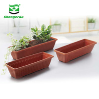 Leizisure outdoor garden plastic 60/70/80 cm large long rectangular floor decoration flower plant pots and planter box