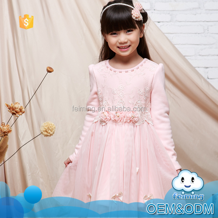 Korean style new fashion flower birthday dress for children girl of 7 years old