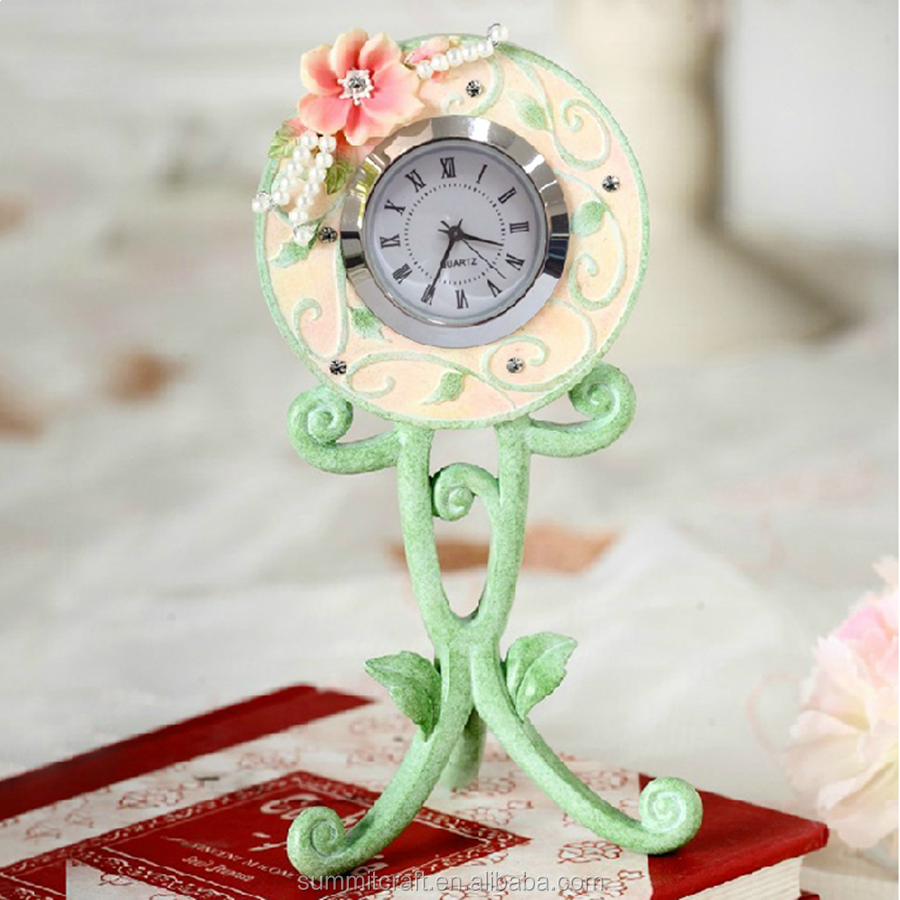 Creative plant design resin antique table decoration clock