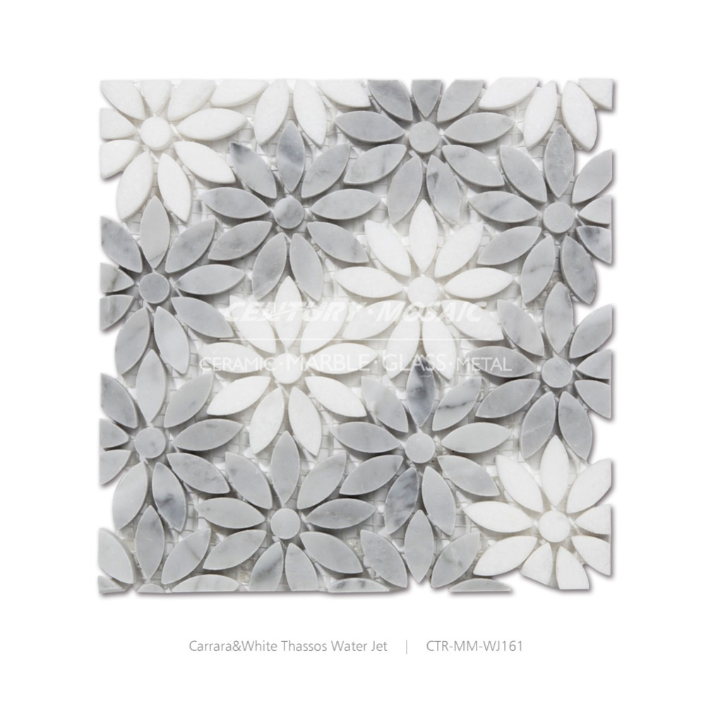 white thassos and carrara flower pictured water jet white mix grey marble mosaic tile