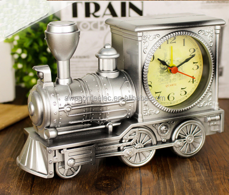 factory pice Locomotive Alarm Clock wholesale train model mini clock for kids