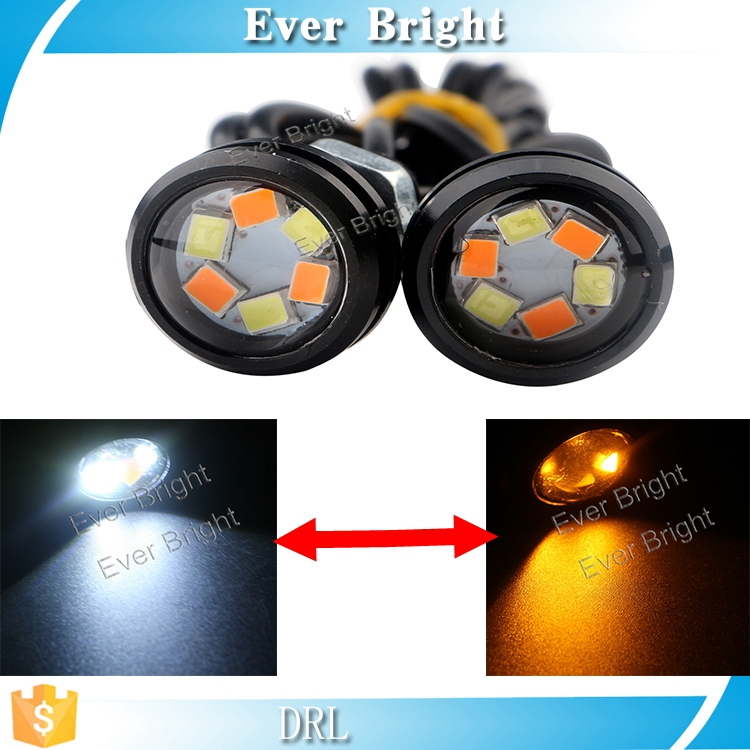 Black shell 23mm 6smd Led Eagle Eye Daytime Running Lights Source White/Amber Lamp Turning Signal License Plate Bulb DRL