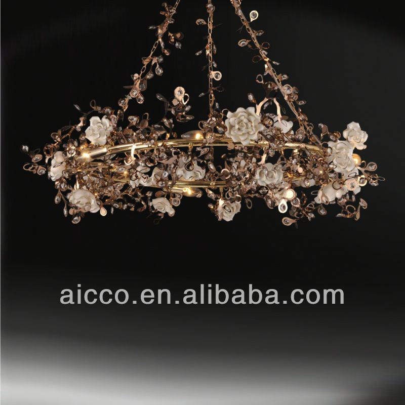 hot sell popular golden stainless steel metal with ceramic flower crystal pendant ceiling chandelier