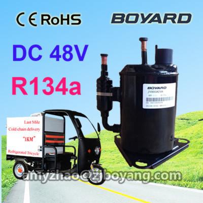 electric tricycle chiller display cabinet with boyard DC 12v 24v 48v portable fridge freezer compressor