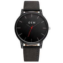 China Supplier Black OEM Own Logo Watch Custom Mens Watch Leather Personalized Custom Logo Watches Engraved