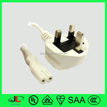 H03V V-F 0.75 MM2 BS certificate British power cable UK 3 pin plug with 2 pin connector c7