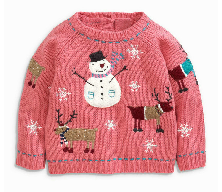 Pink Snowman Embroidery Children Baby Sweater Designs For Girl