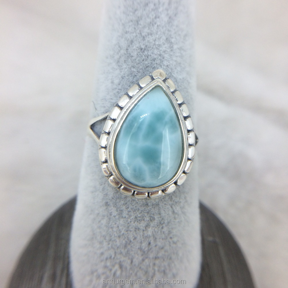 Handmade Jewelry Natural Stone Larimar with 925 Silver Ring of Pear Shape