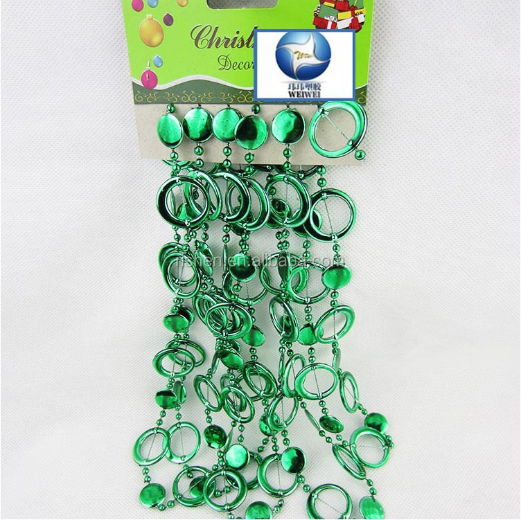 Plastic Christmas Beads Chain Necklaces Designs Xmas Ornament Import