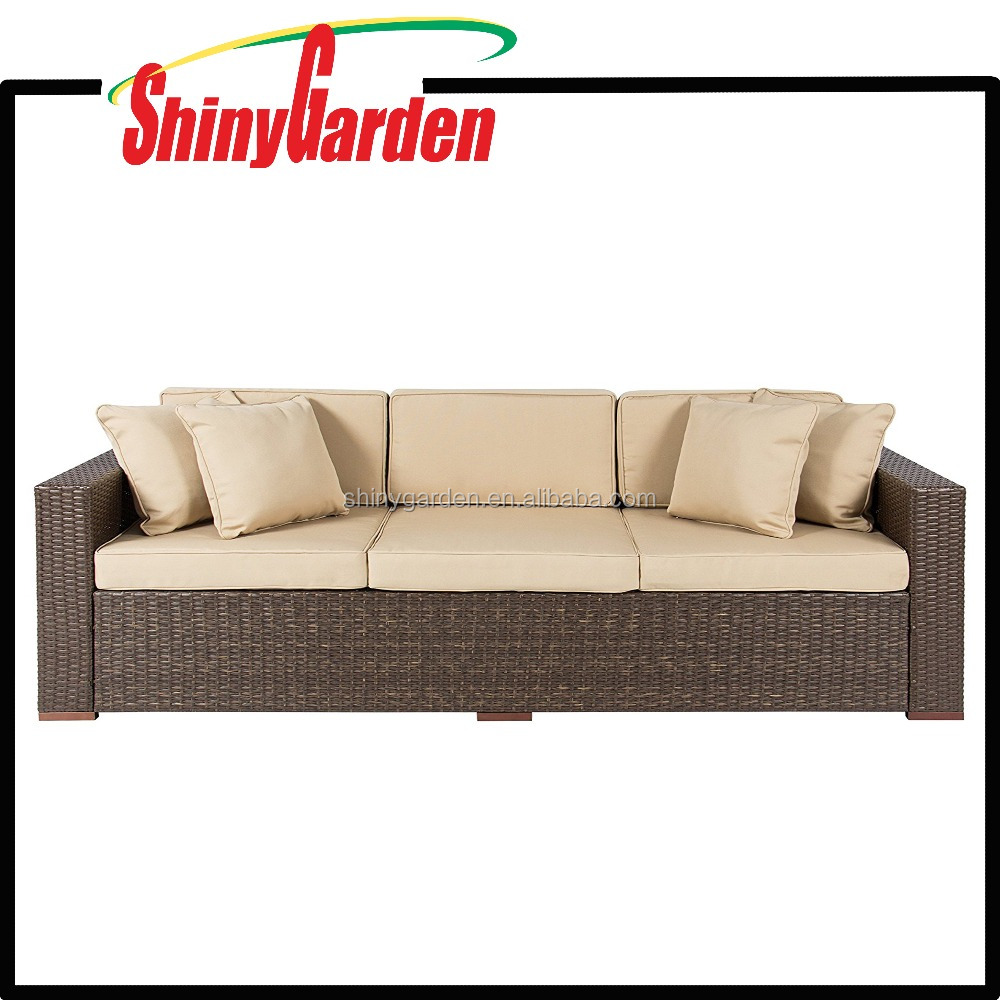 Patio Outdoor Luxury Comfort Rattan Wicker Couch Wicker Furniture Rattan Wicker Sofa 3 Seater