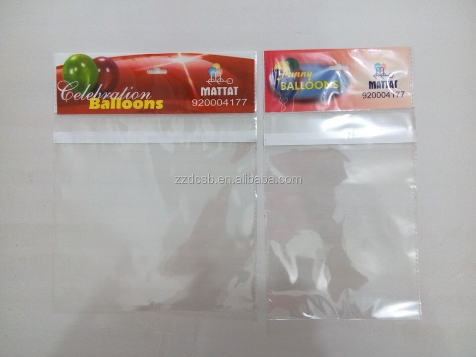 BOPP plastic packaging bag with hanging header and sealing strip