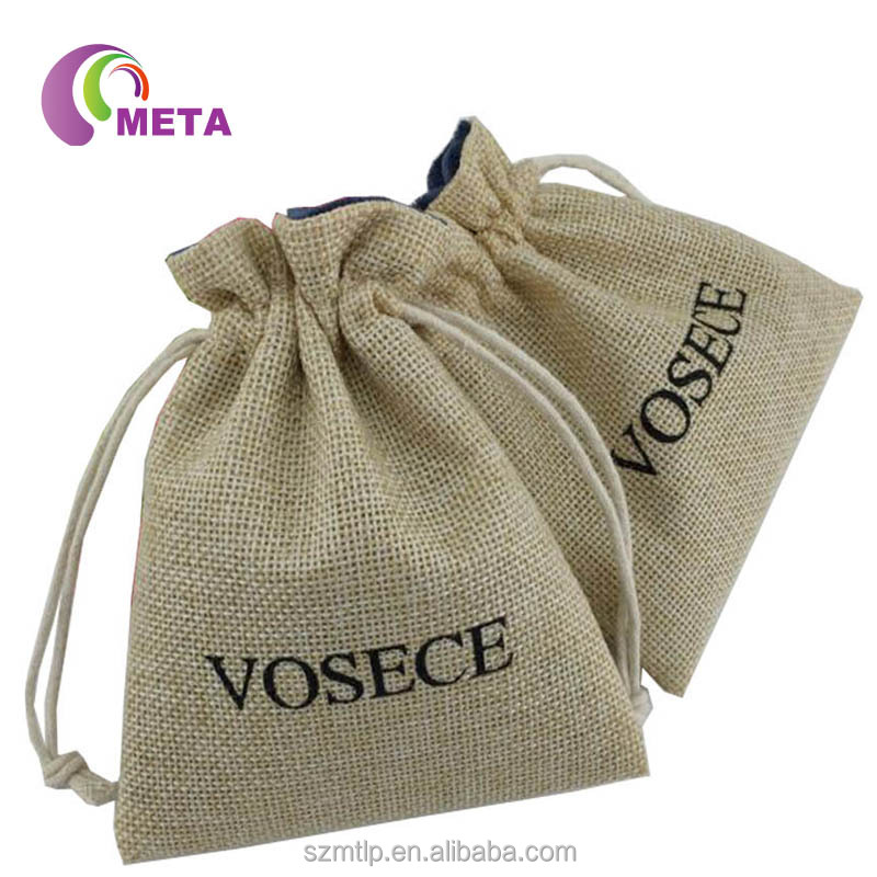 Promotion Small Printed Hessian Small Jute Pouch