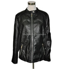 Plus size women PU leather jacket with half knitted sleeves