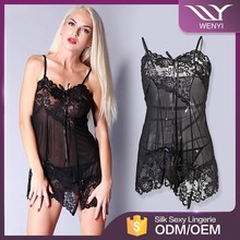 Hot transparent embroidered lace babydoll sleepwear sexy lingerie for fat women