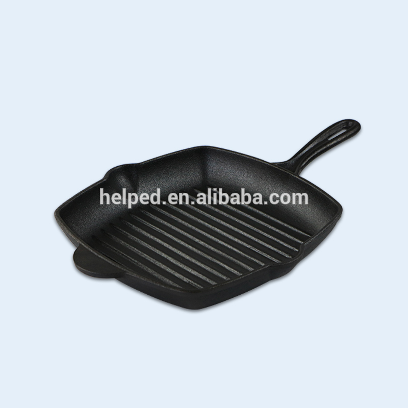 New cast iron vegetable oil coating beef steak frying pan with high quality cast iron skillet frying pan