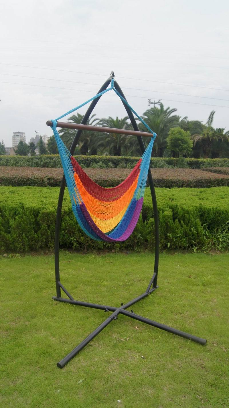 X fame metal hammock chair stand Caribbean cheap hanging portable hammock chair with stand rainbow color hammock stand