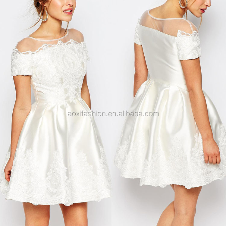 Wholesale New Arrival Fitted Waist Pure White Mini Dress Fashion Lace Wedding Dress Patterns