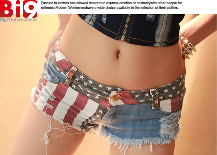 Sexy Ladies Spandex/Cotton short wholesale US Flag Jeans Printed