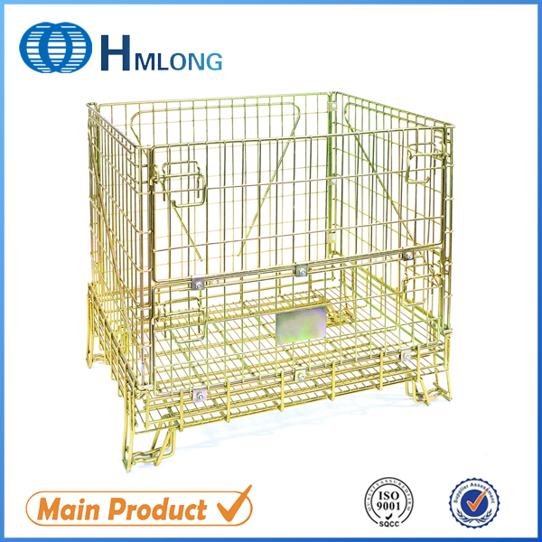 Heavy duty stacking rigid wine storage wire mesh bin