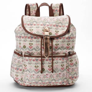 Heart and aztec graphics canvas Backpack wholesale