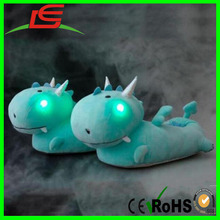 Wholesale Green Smoko Dragon LED Light up Slippers Plush For Kids Girls Women