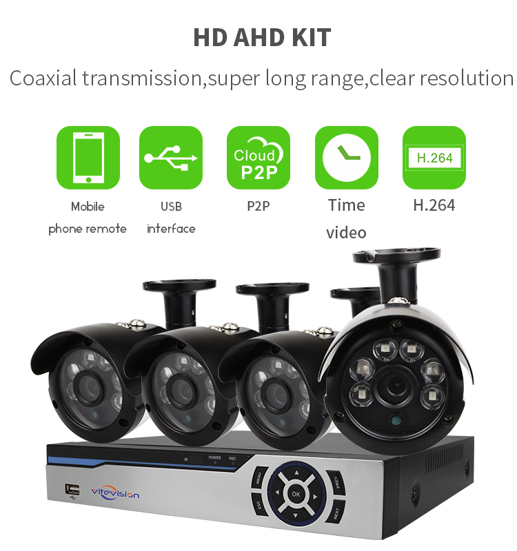 Vitevison security monitor system Optional 1MP 1.3MP camera H.264 4ch AHD DVR Kit